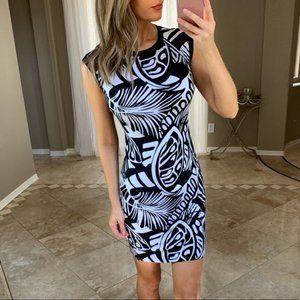 Cache Black & White Striped Palm Leaf Sheath Dress